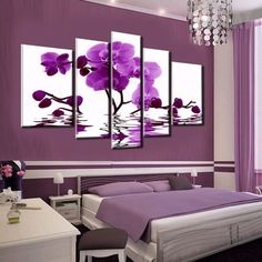 Purple Orchid Floating On The Water - 5 Piece Canvas  #prints #printable #painting #canvas #empireprints #teepeat