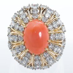 Oscar Heyman Coral Diamond Cocktail Ring In Excellent Condition For Sale In New York, NY