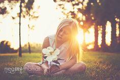 Children's photography / little girl pose idea / magnolia / natural light / golden hour photography / back light