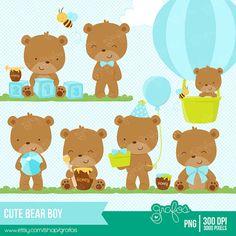 CUTE BEAR BOY Digital Clipart,  Baby Bear Clipart, Teddy Bear Boy , Baptism clipart / Instant Download