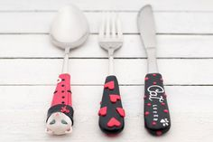Cat Lover Serving Cutlery Set Black Red White Spoon Fork Knife Gift for Her Unique Polymer clay Utensil Set