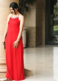 mango, red maxi dress
