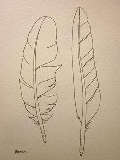 2 sea bird feathers -- original ink drawing. $15.00, via Etsy.
