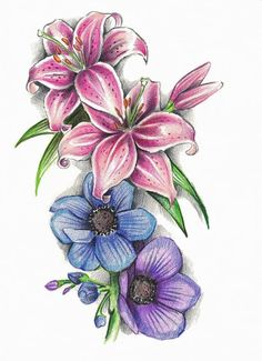 Stargazer Lilies And Anemone Flowers Tattoo Sample