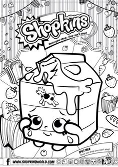 Shopkins Colour Color Page Spilt Milk ShopkinsWorld: