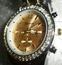 Geneva Women s Crystal Boyfriend Watch in Two Tone Silver and Gold $29.99 Value