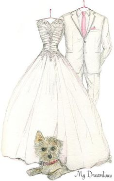 Sketch of Wedding Dress, Suit & Pet  - One Year Anniversary Gift, Wedding Gift or Bridal Shower Gift One Year Anniversary Gifts For Wife. https://www.etsy.com/listing/206411611/sketch-of-wedding-dress-suit-pet-one?ref=shop_home_active_8