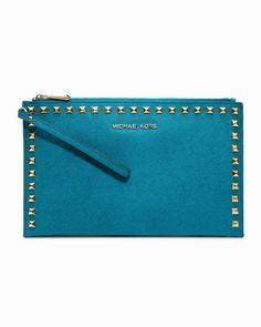 Michael Kors Große Selma Stud-Trim Saffiano Kupplung TÜRkis deutschland 1 #fashionhandbags#jewellery|#jewellerydesign}