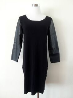 NWT ZARA DRESS WITH FAUX LEATHER SLEEVES BLACK SIZE L