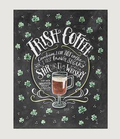 Irish Coffee Recipe  Recipe Print  Irish Coffee Art  by LilyandVal