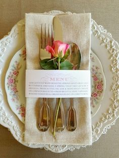 Love this menu tied around a very pretty tea, brunch or shower place setting.