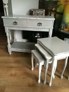 Console table and matching nest of tables upcycled in Everlong earl grey and porcelain. Very beachy and shabby chic!