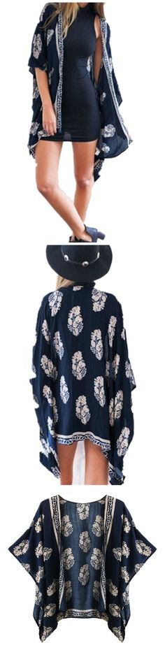 Carry this printed kimono style cardigan in style, and make a statement.
