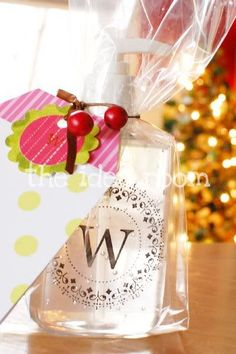 Monogrammed Hand Soap/Sanitizer Bottles make great teacher and Christmas gifts | theidearoom.net