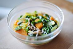 Soba Noodles in Broth with Sweet Potato, Cabbage, and Spinach