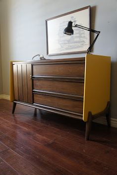 European Paint Finishes: Retro Dresser two toned yellow and brown. Mid Century Shelves, Mid Century Bar Stools, Mid Century Bed, Mid Century Dining Table, Mid Century Sideboard, Baby Changing Tables, Changing Table Dresser, Painted Furniture, Furniture Design