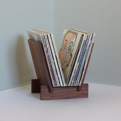 Solid walnut LP record stand in 4 parts. Sides fit into notches on base to create a solid stable platform for viewing and displaying albums. Vinyl Record Storage, Lp Storage, Sheet Storage, Lp Regal, Record Crate, Record Player Stand, Stereo Cabinet, Record Cabinet, Douglas Fir