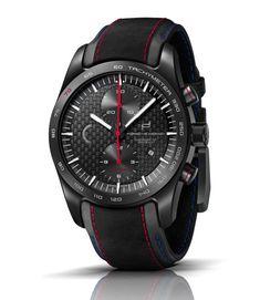 Vintage Watches Porsche Design Chronograph Sportwagen PCA LE (caseback) - the watch has a black titanium carbide case and a carbon fiber dial. All Black Watches, Watches For Men, Porsche Design, Iwc, Cool Items, Watch Brands, Vintage Watches, Vintage Designs, Chronograph