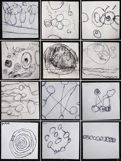 Dit lijkt me gaaf: geef elk kind een vierkant blaadje en de opdracht 'teken 10 cirkels en 5 lijnen'. Elk kind doet dit op z'n eigen manier. Aan het eind vergelijken en bij elkaar hangen. Leuk!