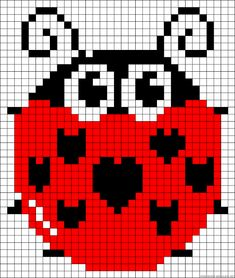 Ladybug pattern – Crochet / knit / stitch charts and graphs – Granny Square Perler Patterns, Loom Patterns, Beading Patterns, Cross Stitch Charts, Cross Stitch Embroidery, Cross Stitch Patterns, Pixel Crochet, Crochet Chart, Hama Beads