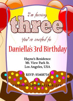3rd Birthday Invitation Sample