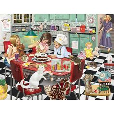 Shop Bits and Pieces jigsaw puzzle store for kids and adults! The kitchen is a mess as the kids try to make a birthday present for mom 300 piece jigsaw puzzle by artist Rosiland Solomon measures 18 x Jigsaw Puzzle Store, Free Online Jigsaw Puzzles, Christmas Jigsaw Puzzles, Birthday Presents For Mom, Country Kitchen Designs, San Bernardo, Couple Cartoon, Christmas Bags, Cute Illustration