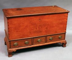 Chippendale Pine Blanket Chest, Pennsylvania, late 18th century, the thumbmolded top opening to a tilled interior, on a base with three cockbeaded drawers and ogee bracket feet, (loss), ht. 32 1/2, wd. 50 1/4, dp. 22 3/4 in.