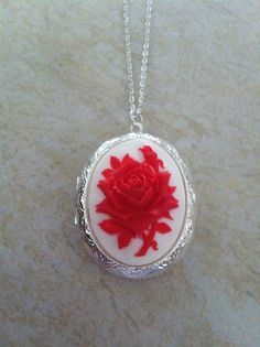 Locket Scarlet Red and White Cameo Ladies Silver by ThingsNStuffs, $13.50
