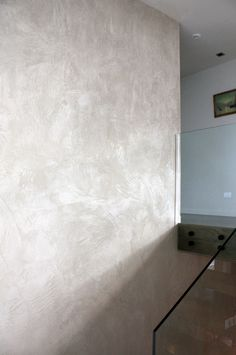 - another nice American Clay wall - nice texture and gray/cement color Clay Paint, Tadelakt, Plaster Walls, Wall Finishes, Living Room Paint, Interior Walls, Beautiful Wall, Beautiful Interiors, Textured Walls