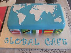 World map cake and my birthday's coming up soon! Travel Cake, Travel Party, Map Cake, Globe Cake, Earth Cake, Retirement Cakes, Retirement Ideas, Cupcake Cakes, Cupcakes