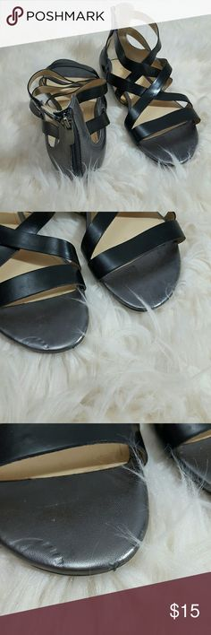 Enzo Angiolini Strappy Sandals Black Silver Preloved; adorable shoes! One of the toe beds have a marking. Enzo Angiolini Shoes Sandals
