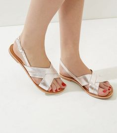 Silver Leather Cross Strap Sling Back Sandals | New Look