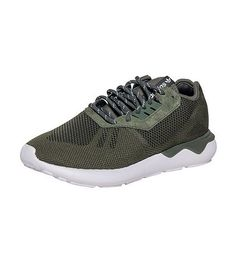 adidas+Men's+low+top+sneaker+Lace+up+closure+Sock+construction+Green+textile+upper+Pull+tab+with+brand+logo+on+tongue+Cushioned+EVA+midsole+for+comfort+Molded+heel+cage+for+performance+Tire-inspired+EVA+tube+outsole+for+durability