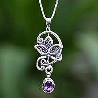 Amethyst necklace, 'Leaf Trio'