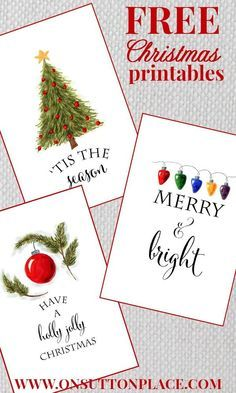 Christmas DIY: Free Christmas print Free Christmas printables to use as DIY Wall Art gift tags cards or screensavers. onsuttonplace.com #christmasdiy #christmas #diy