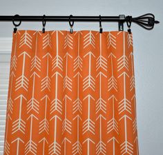 Pair of Rod Pocket Curtain Panels in Apache Orange Macon and white  Can be hung on Curtain Rod or use with Ring Clips (not included)  Sizes