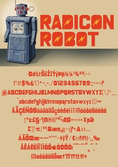 Download another cool and eclectic GAUTFONT Radicon Robot – 258 glyphs - 4 weights #GautFonts #Robots Modern Toys, Lightning Bolt, Radio Control, Glyphs, Weights, Robots, San, Cool Stuff, Retro