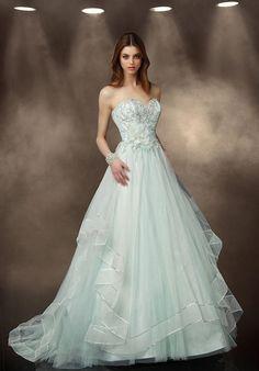 Tulle A-line dress with sweetheart neckline | Impression Bridal | https://www.theknot.com/fashion/10187-impression-bridal-wedding-dress