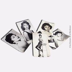 Lot de 5 cartes postales actrices italiennes années 1955 - 1965 Gina Lollobrigida (551, 456, 845) , Sophia Loren (373), Sophia Loren (1010).