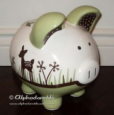 Custom hand painted ceramic personalized piggy by Alphadorable, $70.00
