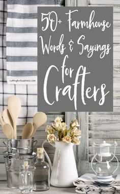 Farmhouse Words & Sayings for Crafters Cutting for Business is part of Handmade home decor - Jump on the rustic farmhouse home decor trend in your Silhouette Cameo or Cricut Explore crafting with this list of farmhouse inspired words and sayings Fixer Upper, Wood Crafts, Diy And Crafts, Decor Crafts, Rustic Crafts, Burlap Crafts, Country Crafts, Creative Crafts, Rustic Decor