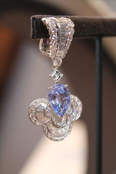 Louis Vuitton lavender spinel and diamond earrings from the Blossom collection.