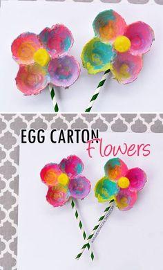 Colorful Egg Carton Flowers for preschool spring craft