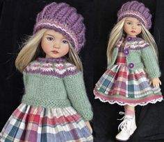 """DRESS,SWEATER,HAT&BOOTS SET MADE FOR EFFNER LITTLE DARLING &SAME SIZE13"""" DOLL. Sold for $81.00 3/3/15"""