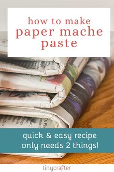 Do you need a VERY simple, fast, and easy paper mache recipe? Here's how to make paper mache paste. Best of all you only two ingredients: glue and water! Paper Mache With Glue, Paper Mache Diy, Paper Mache Paste, Paper Mache Projects, Making Paper Mache, Paper Mache Sculpture, Diy Paper, Paper Crafts, Diy Projects