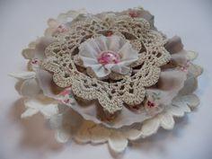 Vintage Blume Shabby Nostalgie Retro Spitze Cabochon Rose Weihnachten Handarbeit