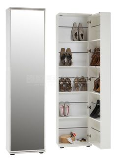 Schoenenkast Prago van 190 cm hoog in witAfmetingen:Breedte: 47 cmHoogte: 190 cm. Shoe cabinet Prago of 190 cm high in white Dimensions: Width: 47 cm Height: 190 cm Depth: cm - High quality - S Resin Coating, Door Curtains, Shoe Cabinet, Types Of Doors, Mirror Door, Diy Door, Shoe Rack, Sweet Home, Vanity