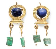 Ancient & Medieval History — Roman Gold, Sapphire and Emerald Earrings, 2nd-3rd...