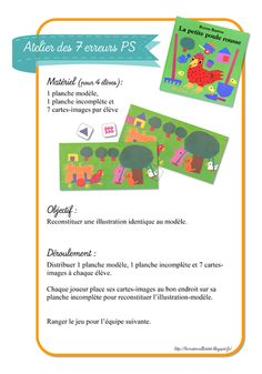 La maternelle de ToT: LES PETITES POULES ROUSSES - JEU DES 7 ERREURS Little Red Hen, Preschool Activities, Farm Animals, Little Red