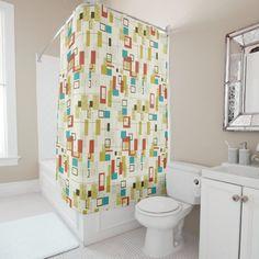 Retro Shower Curtain, Retro Curtains, Vintage Curtains, Custom Shower Curtains, Vintage Shops, Retro Vintage, 50s Decor, Retro Rv, Dog Design